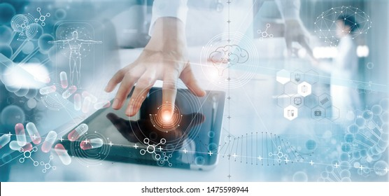 Medicine doctor analysis electronic medical record on interface display. DNA. Digital healthcare and network connection on hologram modern virtual screen, innovative, medical technology and network.