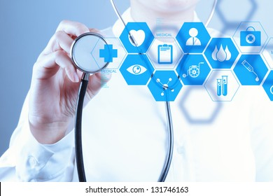 Medicine doctor hand working with modern computer interface as concept - Shutterstock ID 131746163