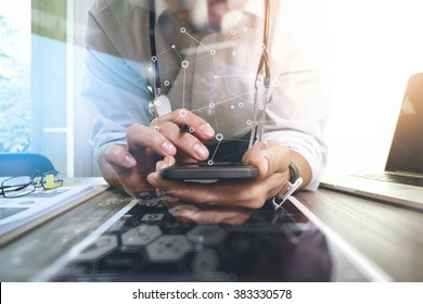 Medicine doctor hand working with modern computer interface and digital tablet and smart phone as medical network concept