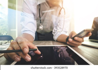 Medicine doctor hand working with modern interface and digital tablet computer as medical network concept