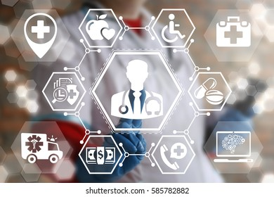 Medicine doctor health care people support help web computing concept. Nurse presses physician button on virtual screen. Medical paramedic treatment first aid ambulance healthy insurance technology
