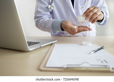 medicine doctor patient healthcare concept contraception Rx prescription form in drug store Pharmacist pharmacy