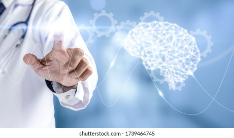 Medicine doctor pointing gear icon with wave brain.Health care and medical or Health Insurance concept.