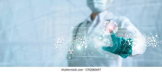 Medicine doctor push stop button outbreak and pandemic of coronavirus or covid-19 on virtual screen interface, Medical technology, Research and analysis, Diagnose checking inhibition of disease.