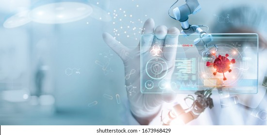 Medicine doctor and robotics research and analysis. Diagnose checking coronavirus or covid-19 testing result with virtual screen in laboratory, Inhibition of disease outbreaks and Medical technology  - Shutterstock ID 1673968429