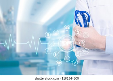 Medicine doctor with stethoscope in hand and icon medical network .Medical technology concept
