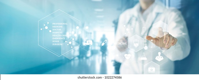Medicine doctor and stethoscope touching icon medical network connection with modern virtual screen interface in hospital background. Medical technology network concept