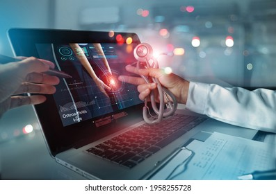 Medicine doctor team meeting and analysis. Diagnose checking osteoarthritis knee testing result with modern virtual interface on laptop, Joint ache problems, Medical technology network.