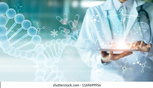 Medicine doctor touching electronic medical record on tablet. DNA. Digital healthcare and network connection on hologram modern virtual screen interface, medical technology and network concept. - Shutterstock ID 1169699956