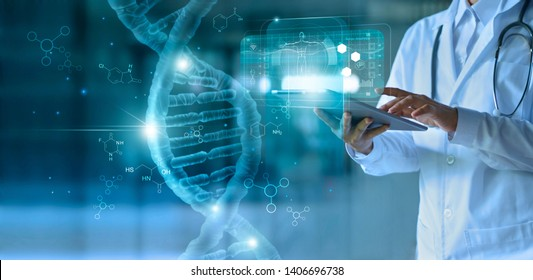 Medicine doctor touching electronic medical record on tablet. DNA. Digital healthcare and network connection on hologram modern virtual screen interface, medical technology and network concept. - Shutterstock ID 1406696738