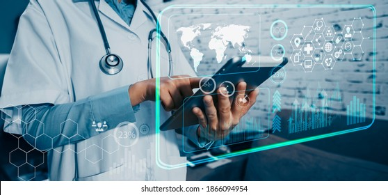 Medicine doctor touching tablet. Medical technology and futuristic concept, Blurred background.