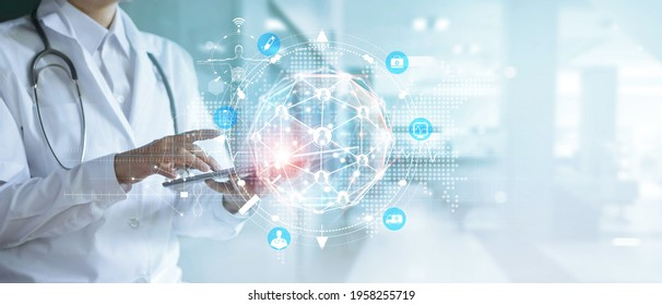 Medicine doctor using digital tablet and patient diagnosis on medical healthcare global network interface, Medical technology and innovative concept.
