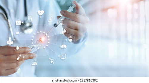 Medicine doctor and vaccine dose flu shot drug syringe in laboratory with icon medical network connection on virtual interface, microbiology and pharmaceutical research, medical and healthcare.
