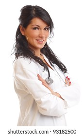 Medicine doctor, woman with stethoscope