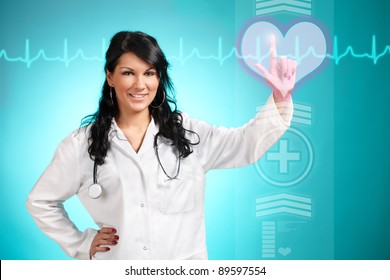 Medicine doctor working with futuristic interface, she is choosing heart symbol to do cardiac test for his patient.