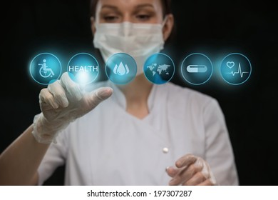 Medicine doctor working with modern computer interface as medical concept