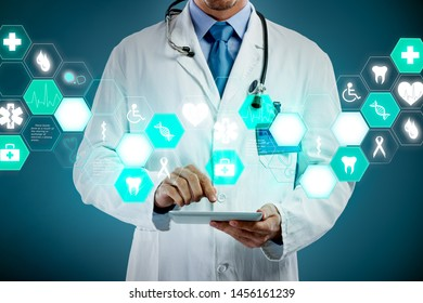 Medicine doctor working with modern tablet and medical icons