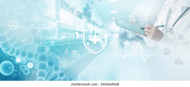 Medicine doctor write electronic medical record on tablet. DNA. Digital healthcare and network connection on hologram modern virtual screen interface, medical insurance, technology and network.