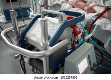 Medicine. Extracorporeal membrane oxygenation. Working ecmo machine in intensive care department. Closeup oxygenator of ECMO. Seriously ill patient on background.