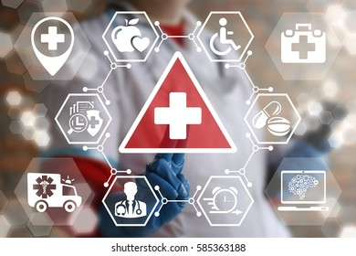 Medicine and health care attention and warning concept. Medical risk treatment, safety security medication, danger healthy, insurance help support technology