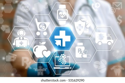 Medicine health care digital integration computing modernization web concept. Doctor presses plus arrow button on virtual screen on background of cloud medical healthcare insurance medical icon