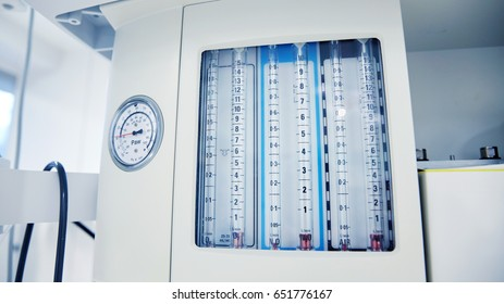 medicine, health care, emergency and medical equipment concept - anesthesia machine at hospital ward or operating room