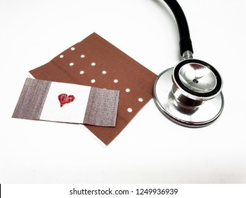 Medicine with heart on a white background