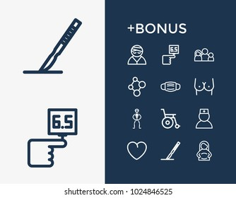 Medicine icon set and doctor with pregnancy, mask and diabetes. Pregnant woman related medicine icon  items for web UI logo design.