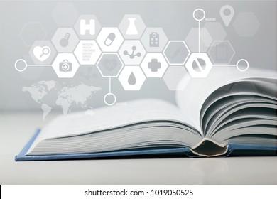 Medicine illustration on open book