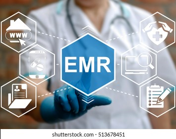 Medicine, information technology, healthcare concept - doctor presses emr acronym word. Electronic medical records service, support. Nurse touched emr sign. Medical, treatment, application, insurance.