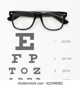Medicine and medical symbols - close up shot of a table for eyesight test with neat glasses over it