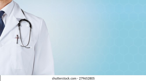 medicine, people and health care concept - close up of male doctor with stethoscope over blue background