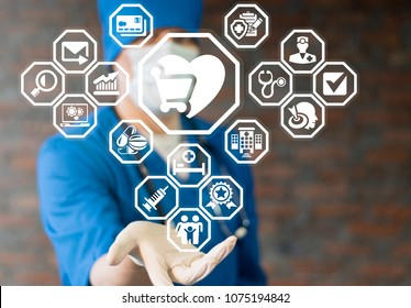 Medicine Pharmaceuticals Online Shopping. Medic offers heart shopping cart icon on a virtual interface. Healthcare Store concept.