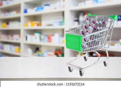 medicine pills blister pack capsule in shopping cart on pharmacy store counter with blur drugstore shelves defocused background