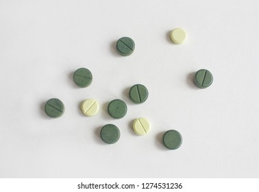 Medicine pills on the white background