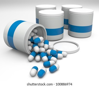 Medicine pills in a white bottle with blue logo on a white background.