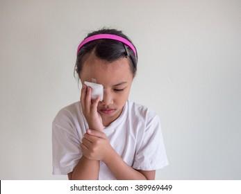 Medicine plaster patch on children injury wound eye