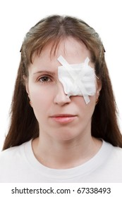 Medicine plaster patch on human injury wound eye