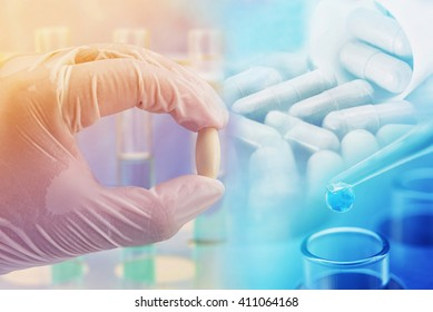 medicine research discovery product concept , pharmaceutical background
