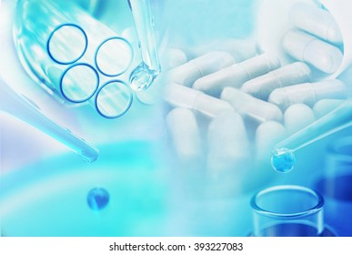 medicine research at science lab background
