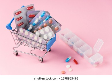 medicine tablets on the table in the group. concept.