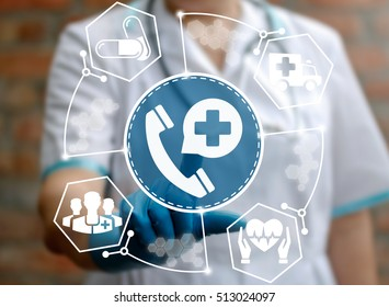 Medicine, technology and healthcare concept - doctor presses handset icon with bubble plus on virtual screen. Health service. Nurse touched medical support help sign. Call, talk, ambulance, wellness.