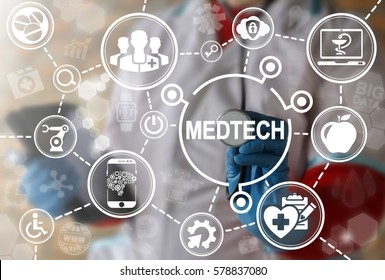 Medicine technology integration automation computing health care concept. Medtech, big data, IoT, IT, AI healthy modernization, medical engineering and rodotic healthcare development