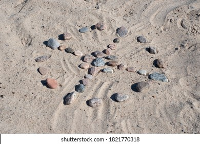 Medicine wheel. Native American circle stone pattern with spokes to cardinal directions. Spiritual concept. - Shutterstock ID 1821770318