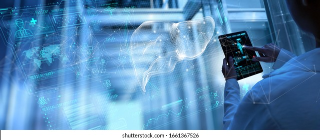Medicine woman doctor touching digital medical record tablet with Liver. AR of healthcare and network connection on hologram modern Ui forTreatment and diagnostics of liver
