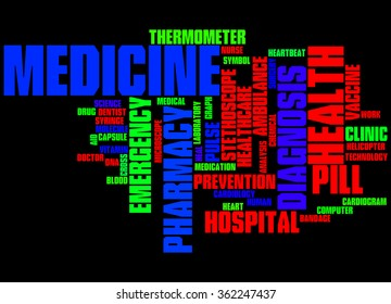 Medicine, word cloud concept on black background.