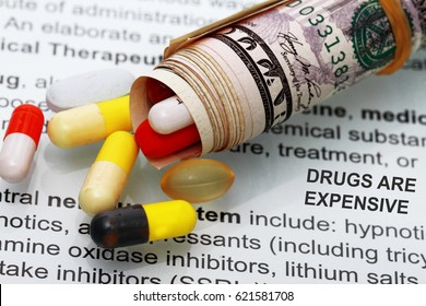 Medicines costs money Drugs and dollars abstract