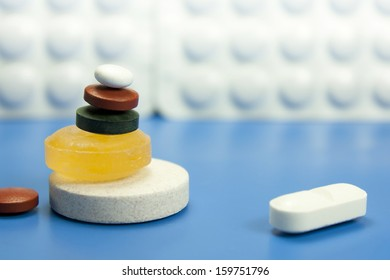 medicines and pills in different shapes and colors