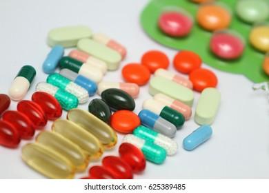 Medicines tablets syringes