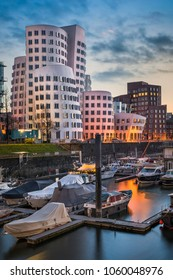 Medienhafen harbour skyline in Dusseldorf, Germany